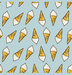 icecream seamless pattern hand drawn retro style vector image