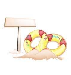 Inflatable Ring and Wooden Placard vector