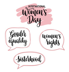 international womens day and feminist typography vector image