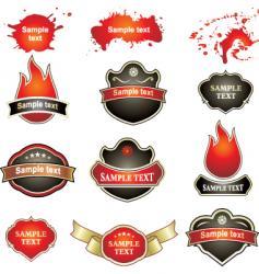 Labels flames splatters vector