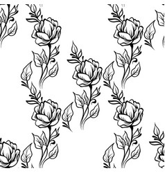 lace elegant line art vintage pattern with flowers vector image