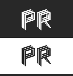 letters p and r logo set isometric emblem symbol vector image