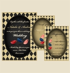 Mad tea party wedding invitation set vector