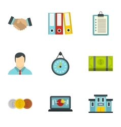 Marketing icons set flat style vector
