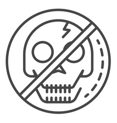 no skull sign icon outline style vector image