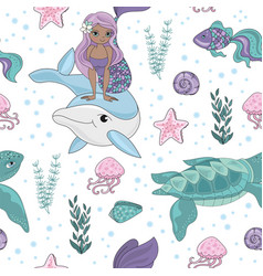 ocean tale mermaid princess pattern vector image