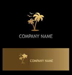 Palm tree seagul beach gold logo vector