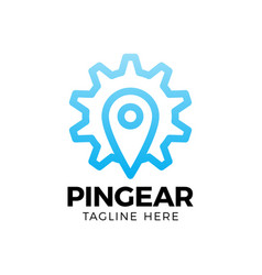 pin gear logo navigator simple icon symbol vector image