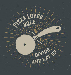 pizza cutter vintage label hand drawn sketch vector image