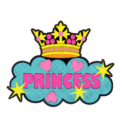 Princess fashion embroidery patch vector