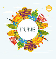 Pune india skyline with color buildings blue sky vector