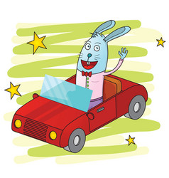 Rabbit driving a car-01 vector