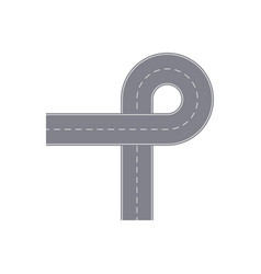 Road ring with turn isolated street map segment vector