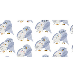 Seamless pattern with cute owls couple in love vector