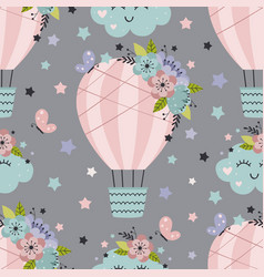 Seamless pattern with hot air balloon and flowers vector