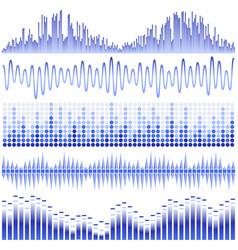 set of blue sound waves vector image
