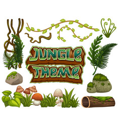 Set of jungle element vector