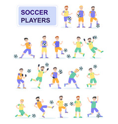 set soccer ball player with different pose vector image