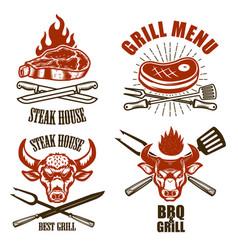set steak house emblem templates bbq grill menu vector image
