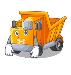 Silent character truck dump on trash construction vector