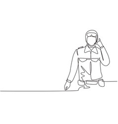 Single continuous line drawing soldier vector