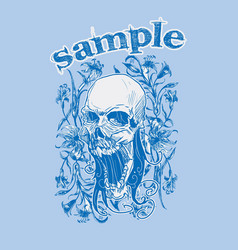 skull with vintage floral background vector image