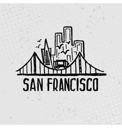 Skyline of San Francisco in watercolor vector