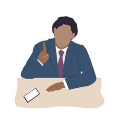 Speaking businessman in a suit sitting at desk vector
