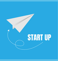 Start up and launch with paper plane icons vector