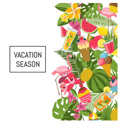 Summer cocktails flamingo palm leaves background vector