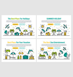 summer holiday - four rectangular site header vector image