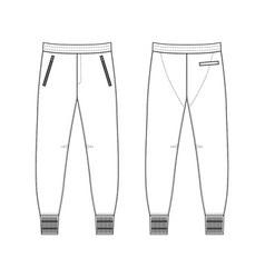 Sweatpants man template front back views vector