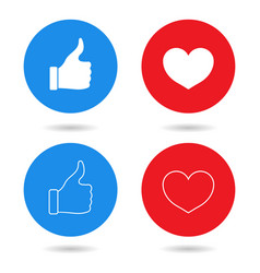 thumbs up and hearts isolated on a white vector image