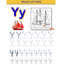 Tracing letter y for study alphabet printable vector