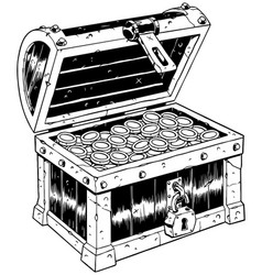 Treasure chest line art vector