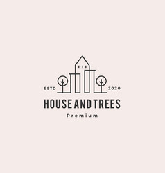 trees house home logo hipster vintage retro vector image