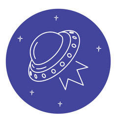 ufo spaceship icon in thin line style vector image