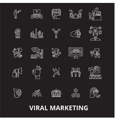 viral editable line icons set on black vector image