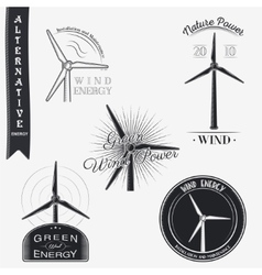 Wind turbine alternative eco energy set vector