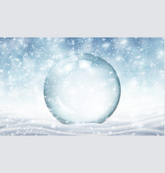 Winter snowy landscape with chrystall ball vector