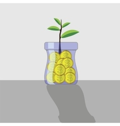 Yellow Metal Coins in Glass Jar vector image