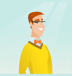 Young caucasian man wearing smart glasses vector