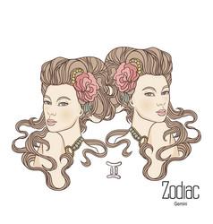 Zodiac gemini as girl vector