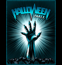 Zombie hand halloween party vintage radiant vector