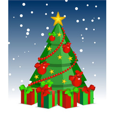 christmas tree cartoon night vector image vector image
