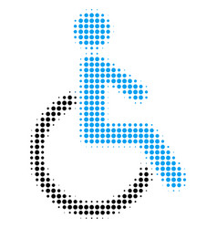 disabled person halftone icon vector image