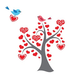 Hearts tree and birds in love vector image vector image