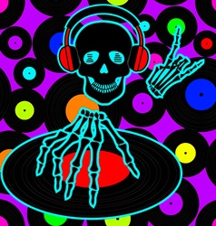 Music flyer or background with Dj skull vector image