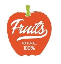 Natural fruits hand drawn isolated label vector image