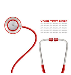 red stethoscope isolated on a white background vector image vector image